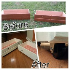 Tutorial for #DIY drawer #storage. Great for under the bed or under a coffee table Rolling Storage, Bed Storage, Extra Storage, Drawer Storage, Shabby Chic Girl Room, Storage Organization, Storage Ideas, Organizing, Creative Thinking