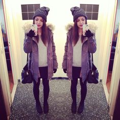 favorite winter outfit <3 #zara #parka #beanie #tights #cold #fur
