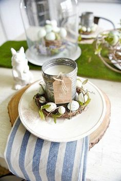 Easter Egg Nest and Candle Place Setting
