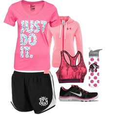 Marleylilly.com Running Shorts by marleylilly on Polyvore featuring Under Armour and NIKE. #fitness #gym #health #gymrat