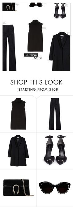"""""""all black"""" by jadeisback ❤ liked on Polyvore featuring The Row, Iris & Ink, MANGO, Alexander Wang, Gucci, Sonia Rykiel and allblack"""
