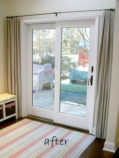 Curtains for sliding patio door: I think we should change our curtain pole for a longer one like this to get more light in