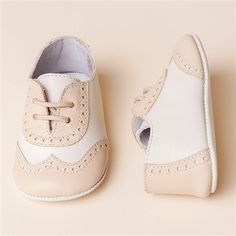 Tan Two Tone Boys Shoes | Christening/Baptism Collection - Designer Gowns & Shoes