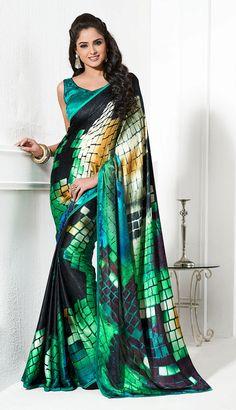 Green Digital Prints Style Crape Silk Sarees multi color block printed style in crape silk, Jacquard sarees, silk border, unstitched blue carpe silk blouse with stone work.