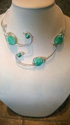 Statement necklace Aqua jewelry Alu wire by LesBijouxLibellule Wire Necklace, Wire Wrapped Necklace, Metal Necklaces, Unique Necklaces, Collar Necklace, Unique Jewelry, Jewelry Ideas, Prom Jewelry, Wedding Jewelry Sets