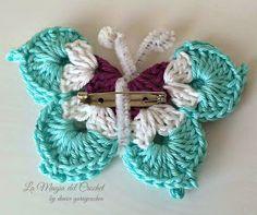 La Magia del Crochet: MARIPOSAS A CROCHET Crochet Butterfly Free Pattern, Crochet Stitches Patterns, Crochet Motif, Crochet Flowers, Free Crochet, Stitch Patterns, Pop Tab Bracelet, Plastic Canvas Crafts, Crochet Crafts