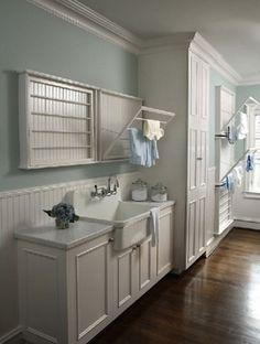 Laundry room Design- Rabaut Design via House of Turquoise via Centsational Girl Drying Rack Laundry, Laundry Room Storage, Laundry Room Design, Laundry In Bathroom, Small Laundry, Narrow Bathroom, Laundry Closet, Basement Laundry, Downstairs Bathroom