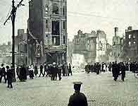 The Easter Rising - The rebels surprised the British on Easter Monday with just a thousand men and women against 400 soldiers. By Friday all had changed; the rebels were outgunned by 20,000 troops. Was it sacrifice or slaughter? Image: O'Connell Street in ruins after 1916 insurrection ©