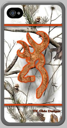 *if only this was for Samsung Galaxy S4*  Chic Designs iPhone 4/4s custom cases. Realtree snow camo with orange camo buck image.