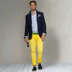 The Evolution of a Gentleman Mens Yellow Pants, Navy Blazer Men, Linen Sport Coat, Preppy Mens Fashion, Men's Fashion, White Dress Pants, White Chinos, Looking Dapper, Grey Skinny Jeans