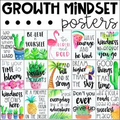 Growth Mindset Posters - Tropical Theme by My Teaching Pal Growth Mindset For Kids, Growth Mindset Classroom, Growth Mindset Activities, Growth Mindset Posters, Classroom Posters, Classroom Themes, Classroom Organization, Quotes For The Classroom, Positive Classroom Quotes