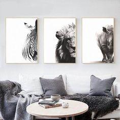 Nordic Zebra Lion Rhino Animal Wall Art Canvas - Nordic Zebra Lion Rhino Animal Wall Art Canvas Nordic-Style-Animal-Canvas-Painting-Zebra-Lion-Rhino-Art-Home-Decor Artwork For Living Room, Living Room Canvas, Living Room Paint, Living Room Animal Art, Kitchen Artwork, Elephant Wall Art, Rhino Art, Rhino Animal, Black And White Artwork