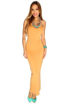 This cute summer casual maxi dress features a beautiful bold color, strapless followed by a comfortable stretchy fitted wear. 100% Polyester. http://www.amiclubwear.com/clothing-dress.html