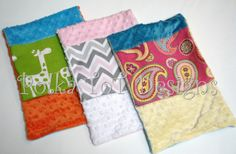 Reversible Burpible.  These are burp cloths that you design.  Minky Dot on each side with a decorative border.  Only $5 each!