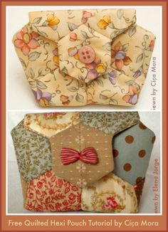 Cica Mora's Free Tutorial Quilted Hexi Pouch