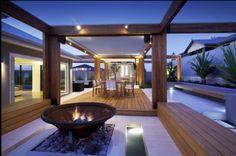 modern outdoor entertaining deck # Firepit # landscaping