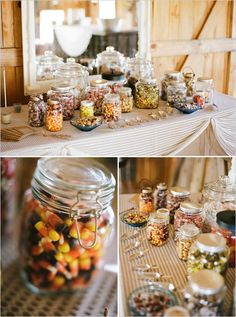 wedding candy bar-perfect for fall (little tins that they fill up could be the favor, they might actually use them!)