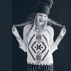 Free people Navajo crochet top  Changing directions white lace top embroidered with black taupe and gray colors ~ front and sleeves are unlined lace ~ back is solid Free People Tops