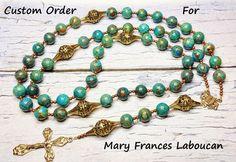 Custom Order  Traditional Catholic Rosary  by BlueWorldTreasures