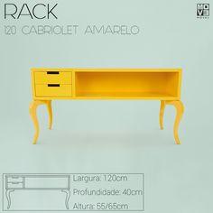 O Rack amarelo com pernas Cabriolet é uma peça linda e sofisticada para sala de Tv!  movemovel-move-movel-rack-amarelo