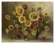 Sunflower Bouquet Print by Barbara Mock at Art.com