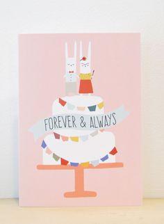 Forever & Always Wedding Card Frida Kahlo by AthenaandEugenia