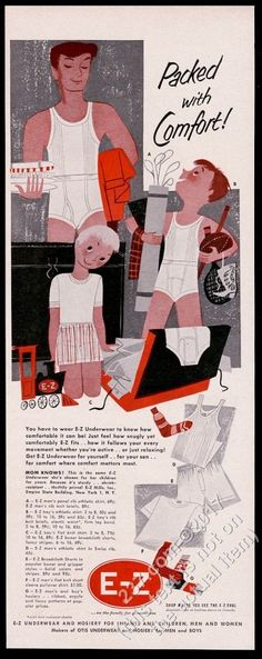 1953 Mary Blair father son travel packing art E-Z underwear vintage print ad | eBay