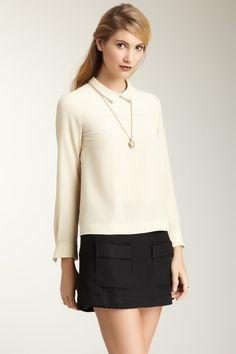 orla kiely silk crepe collar blouse.