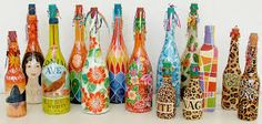 garrafa de vidro decorada - Pesquisa Google