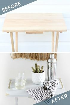 Turn a TV Tray into a Simple Bar Cart