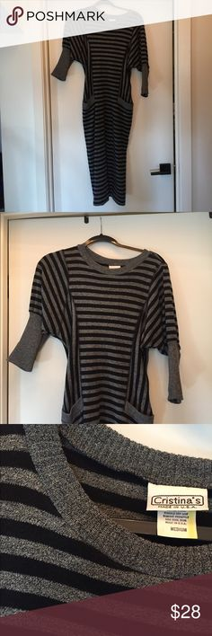 Christina's adorable striped sweater dress, Size M Christina's adorable striped sweater dress, Size M. This gray and black striped sweater dress is adorable, and perfect for the cooler weather! It is in excellent condition, and has only been worn once or twice! Christina's Dresses