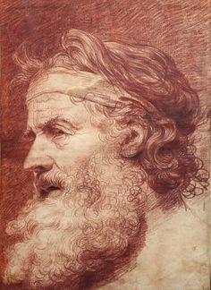 Jean-Baptiste Greuze (1725-1805), Figure d'homme barbu ou Le Philosophe grec, sanguine, 44 x 32 cm. Estimation : 50 000/70 000 €. Lundi 17 novembre, salle 1 - Drouot-Richelieu. Rieunier - de Muizon SVV. M. Millet.