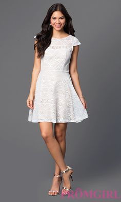 Short Lace Graduation Dress with Cap Sleeves  Style: BBL-3IMCL0103