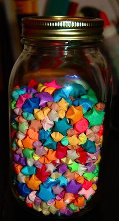 A jar of folded paper puffy stars