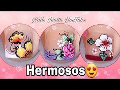 3 modelos de decoración de uñas para PIE/Diseños variados y bonitos para PIE/tutoriales de uñas - YouTube Pedicure Nail Art, Toe Nail Art, Toe Nails, Toenail Art Designs, Work Nails, Toenails Painted, Simple Toe Nails, Flower Toe Nails, Feet Nails