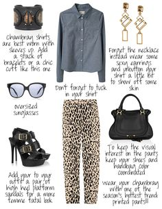 How to wear a chambray shirt with printed pants. Follow my outfit ideas at www.stylebyred.blogspot.com