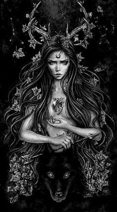 Goddess Tattoo, Goddess Art, Moon Goddess, Dark Gothic Art, Dark Fantasy Art, Halloween Imagem, Witch Drawing, Witch Tattoo, Arte Obscura