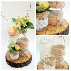 DIY - Décoration mariage - Centre de table. #champetre #rustique #vintage…