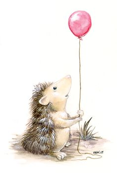 I think the pregnant mandrake ruptured something in my brain, and required me to paint something godawfully cute. Like a hedgehog with a balloon.