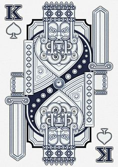 Ilustraciones Vectoriales has redesigned a King card making the patterns of it more fixed and more of a solid formal look as opposed to a usual flow to the car design Cool Playing Cards, Custom Playing Cards, Illustration Arte, King Card, King Of Spades, Illustrator Tutorials, Adobe Illustrator, Jack Black, Art Plastique