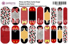 Heading to Disney? My Mickey and Minnie Custom Jamberry Nails. 1 sheet for $25. You get two mani's and 2 pedi's per sheet! If you want 'em you gotta get 'em directly from me! https://docs.google.com/forms/d/1MZgbcPAyLh9WEz67g7KGIv1zDNt6kfdj2DDT8jlyBGo/viewform?usp=send_form