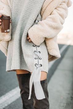 Side lace up sweater dress.
