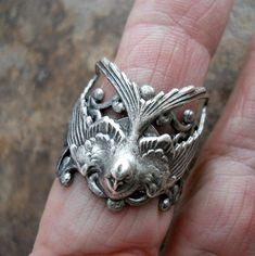 Soaring Bird Ring, Soaring Barn Swallow,  EXCLUSIVE DESIGN by Enchanted Lockets