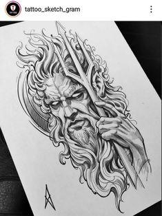 Zeus Tattoo, Hades Tattoo, Trident Tattoo, Poseidon Tattoo, Norse Tattoo, Viking Tattoos, Poseidon Drawing, Armor Tattoo, Warrior Tattoos