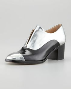 Metallic Leather High-Heel Oxford, Silver/Black by Reed Krakoff at Neiman Marcus. Metallic High Heels, Leather High Heels, Metallic Leather, Saddle Oxfords, Women's Oxfords, Reed Krakoff, Oxford Heels, Fall Shoes, Carrie Bradshaw