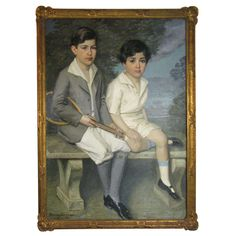 Portrait of Children Tennis Players | From a unique collection of antique and modern paintings at http://www.1stdibs.com/furniture/wall-decorations/paintings/