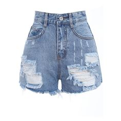 Romwe Retro Fading Destroyed Denim Light-blue Shorts (910 UAH) ❤ liked on Polyvore featuring shorts, bottoms, jean, short, denim short shorts, distressed shorts, faded shorts, short shorts and denim shorts