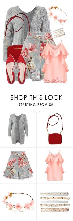 """""""Cardigan and shorts"""" by morellemomo ❤ liked on Polyvore featuring Sans Souci, Michael Kors, Zimmermann, Miss Selfridge and Charlotte Russe"""
