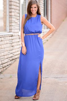 PERFECTION! This blue maxi is fabulous! We love the neckline and how the dress is so stylish! Dress it up or down. Either way you'll be the talk of the town!