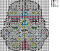 Sugar skull stormtrooper Cross stitch pattern